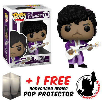 Funko Pop Prince Purple Rain Vinyl Figure + Free Pop Protector