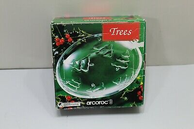 Vintage ARCOROC USA TREE Clear Glass Christmas Plates 4 Pack Dessert Plate