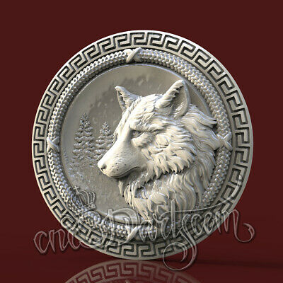 3D Model STL 4 CNC Router Artcam Aspire Round Greek Wolf Head Panel Cut3D Vcarve