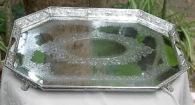Antique 1866 Victorian Silver Plated Tray, Ornate, Hand Chased and  Repousse