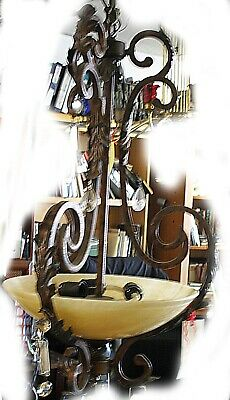 Antique 3 Light Wrought Iron Art Deco Faux Chandelier, Marble Shade and Crystals