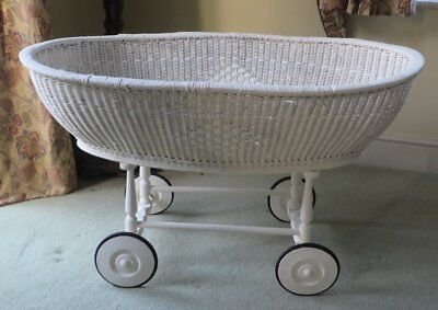 Lovely Original Antique Crib Moses Basket Wicker Victorian Vintage shabby chic