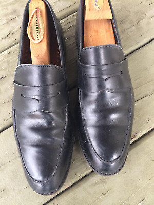 382a689f722 BROOKS BROTHERS Solid Black Leather Moc Toe Penny Loafer Dress Shoes - 10 D