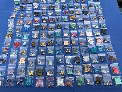 ORIGINAL Large Lot Of Mixed Assorted Beads Craft Making Supplies 27 Bags