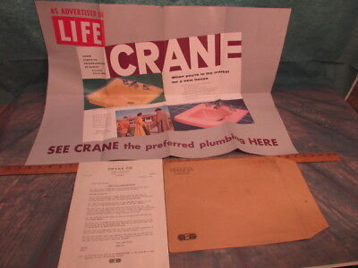 Vintage Crane plumbing bathroom Advertising pink yellow sink faucets brochure