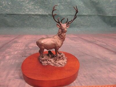Vintage pewter colored Bronze Stag Statue amazing detail ELK Hunting cabin