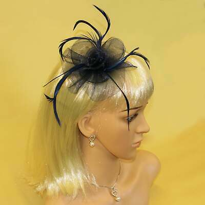 Navy blue fascinator with feather tendrils beautiful for wedding, prom, Ascot