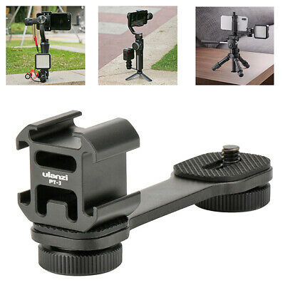 Triple Hot Shoe Mount Adapter Microphone Light Lamp Extension Support