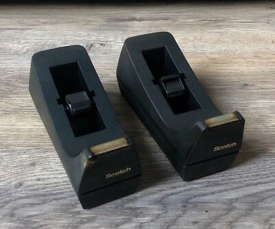 X2 Pair Vintage Style Scotch C-38 Table Desktop Tape Dispensers- Heavy Duty