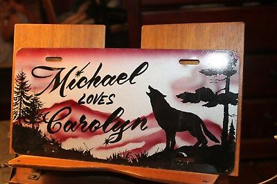 1980's License Plate Wolf Howling Michael Loves Carolyn metal airbrushed