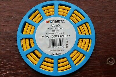 Partex Wire Marking Systems PA1/3 2.5-5.0mm wires Roll of 500 markers - see list
