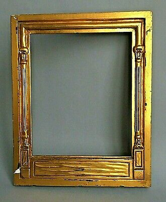 """Antique Frame 8 3/4"""" X 10 3/4"""" Neoclassical Wood Gold Gilt Columns Hand Carved"""