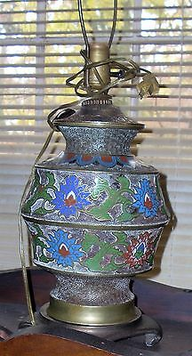 ANTIQUE Champleve/Cloisonne Bronze VASE / LAMP URN JAPAN RARE ANTIQUE