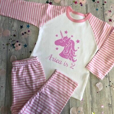 PERSONALISED BIRTHDAY UNICORN PYJAMAS, Pink Unicorn Per Name is Number PJs, Cute