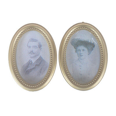 2X//Set Dollhouse Miniature Victorian Gentleman Lady Picture Oval Photo Frame CSU