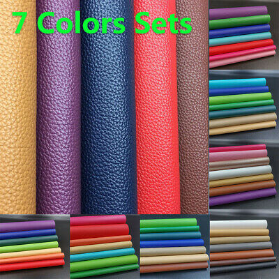 7pcs Sets PU Systhetic Leather Fabric Sheets Laser Fabric Bag Bows DIY