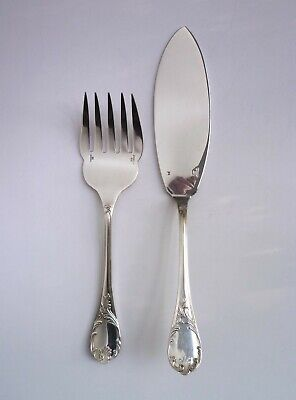"""CHRISTOFLE France 'MARLY"""" Silver Plated FISH SERVERS."""