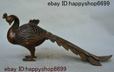 "16"" Old China Bronze Feng huang Fung-hwang Phoenix Bird Of Wonder Incense Burner"