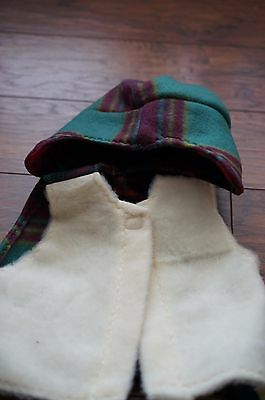 NWT baby white multi-color plaid fleece vest hat set American Red Cross gift