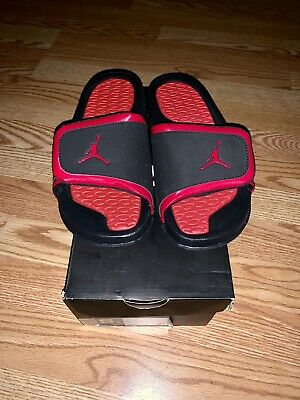 f6db75595608 Jordan Hydro 2 Youth Kids US Size 4Y Black Red Slides Brand NEW With Box