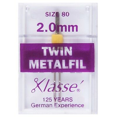 KLASSE TWIN METALFIL SIZE 80/12 WITH 2.0mm GAP - EMBROIDERY SEWING MACHINE