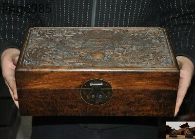 Old Chinese Dynasty Boxwood Wood Carving Loong dragon Storage jewelry box boxes