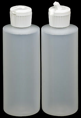 Plastic Bottle w/White Turret Lid, 4-oz., 6-Pack, New