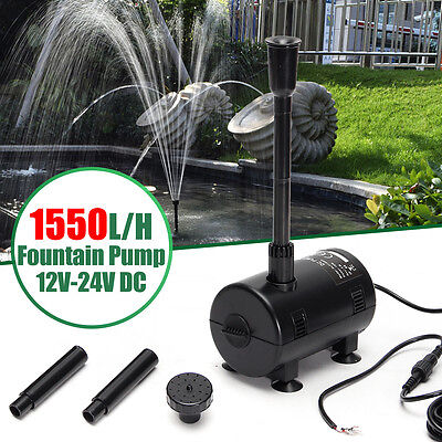 1550L/H 12V-24V DC Solar Powered Submersible Fountain Pump Watering Garden