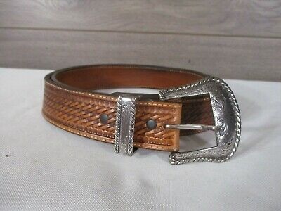 Justin Western Mens Belt Leather Triger Happy Buckle Made In USA Brown C11878