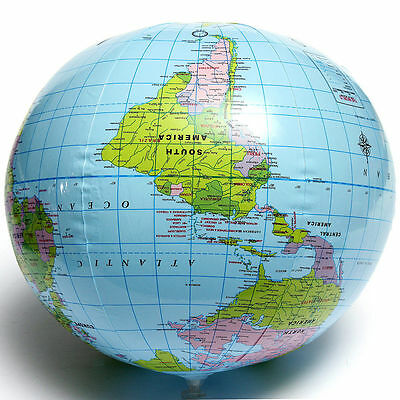 PVC Inflatable Blow Up World Globe 40CM Earth Atlas Ball Map Geography Toy Wy