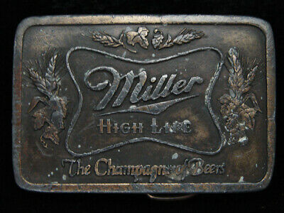 PC15106 VINTAGE 1970s **MILLER HIGH LIFE THE CHAMPAGNE OF BEERS** BELT BUCKLE