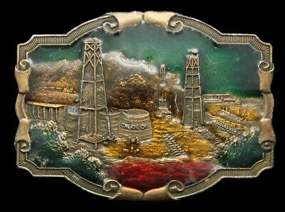 QJ16168 VINTAGE 1970s  OILFIELD **STANDARD OIL DERRICKS** CRUDE OIL BELT BUCKLE