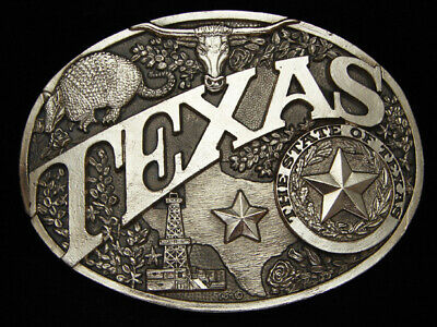 PE13136 *NOS* VINTAGE 1980s **TEXAS** STATE COMMEMORATIVE SOLID BRASS BUCKLE