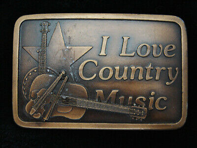 QG25113 VINTAGE 1970s **I LOVE COUNTRY MUSIC** COMMEMORATIVE BRASSTONE BUCKLE
