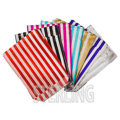 CANDY STRIPE PAPER BAGS SWEET BUFFET GIFT SHOP PARTY SWEETS CAKE WEDDING 10x14""