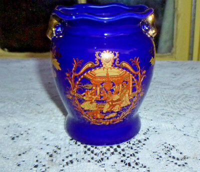 Vintage Small Vase Cobalt Blue Gold Trim Oriental Scene 4in.