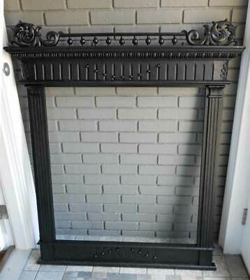 Antique ARCHITECTURAL OVER MANTLE MIRROR FRAME W/ CARVED GALLERY