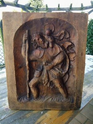 Antique Black Forest Carved Wood Wall Plaque-Holy Christopher With Jesus Child