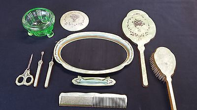Vintage 9pc CELLULOID GREEN Dresser Vanity Set PEARLIZED 1940s Antique Pyralin