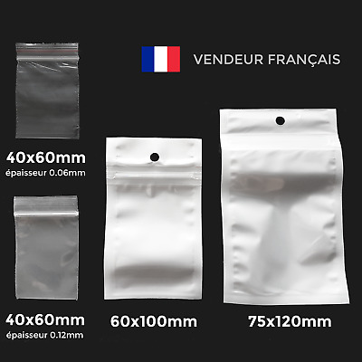 Lot sachet zip plastique Transparent ou Blanc bag pochette fermeture pression