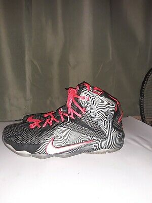 a18a7d4ddccdb Nike Lebron XII Court Vision Black Crimson Red Mens Sz 11.5 Pre Owned