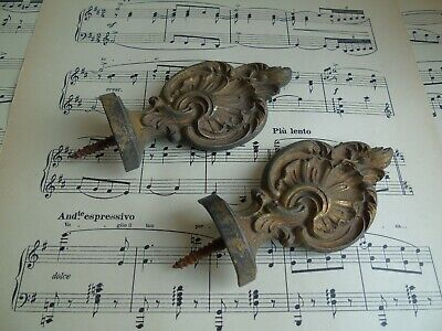 French a pair of antique projects decoration  ornately finials end patina bronze