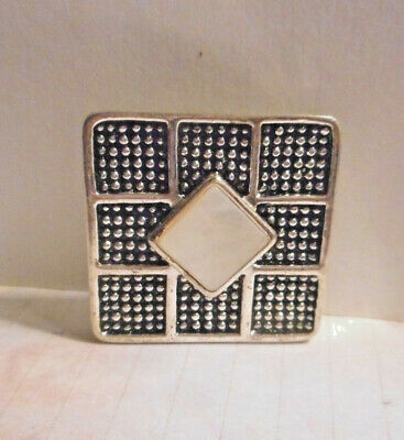 Stamped Napier a beautiful silver brooch/pin with Abalone shell,geometric design