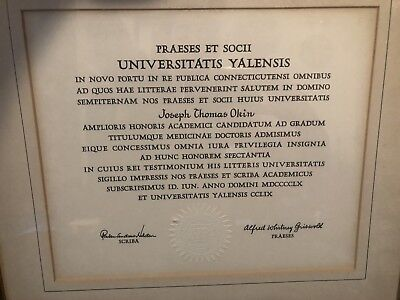 Vintage Yale University Framed Medical School Diploma 1960 in Latin