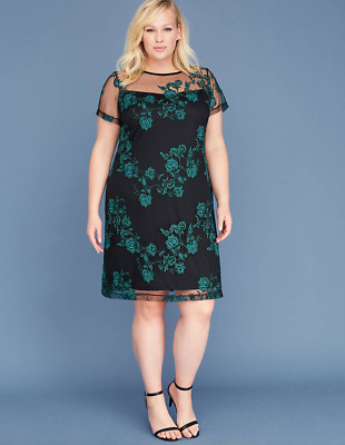 c3a95933c627 Lane Bryant Embroidered Mesh Shift Dress Womens Plus 16-20-28 Everglade 1x  2x