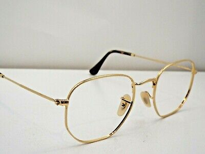 38e60d17039b1 Authentic Ray-Ban RB 3548N 001 Z2 Gold Hexagonal Flat Sunglasses Frame  223