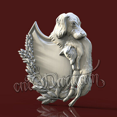 3D Model STL 4 CNC Router Artcam Aspire Hunting Trophies Dog Rabbit Cut3D Vcarve