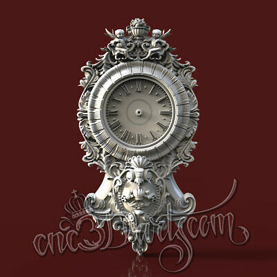 3D Model STL CNC Router Artcam Aspire New Baroque Angels Clock Cut3D Vcarve