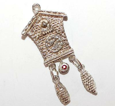 Moving Cuckoo Clock Sterling Silver Vintage Bracelet Charm With Gift Box 7.6g