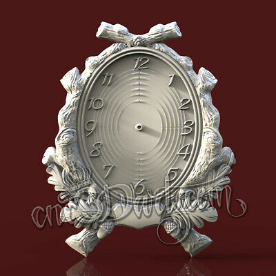 3D Model STL CNC Router Artcam Aspire Hunting Hunter Acorn Clock Cut3D Vcarve